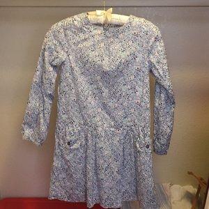 JACADI | long sleeves button back down dress 10Y